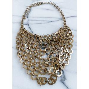 RARE LF Matte Hammered Gold Boho Grommet Necklace